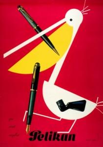 affiche de Stoecklin Niklaus pour la marque de stylo Pelikan