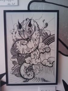 Sérigraphie de Skio sur le thème du dragon des mers