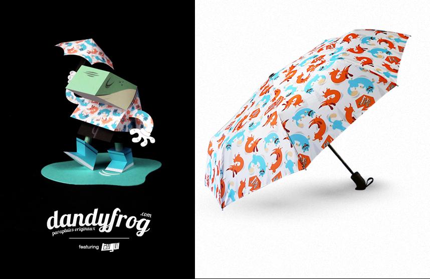 """""""It's raining cats and dogs"""" modèle de parapluie crée par Tougui pour la marque Dandyfrog"""