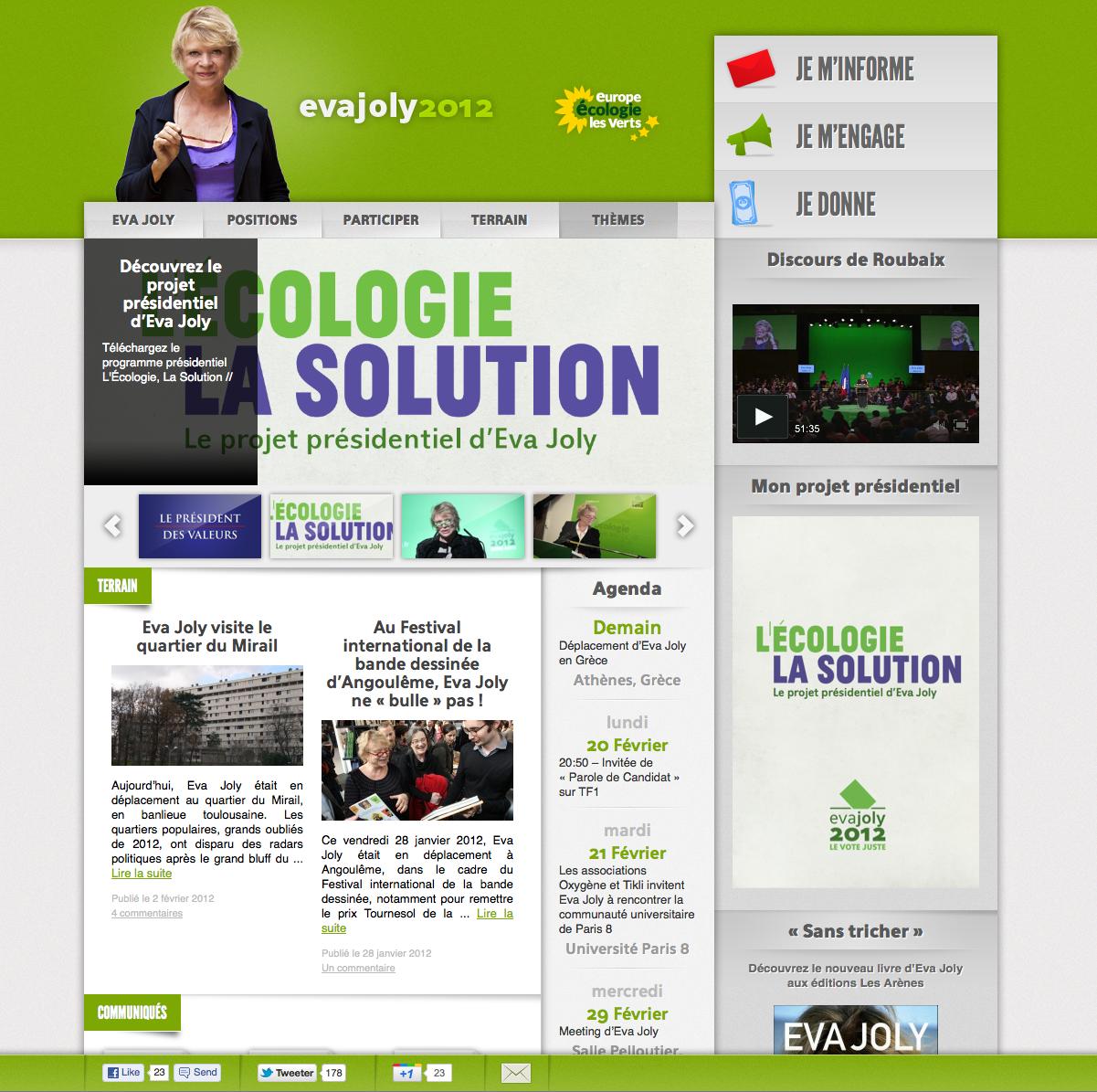 Site web de la candidate Eva Joly - les verts