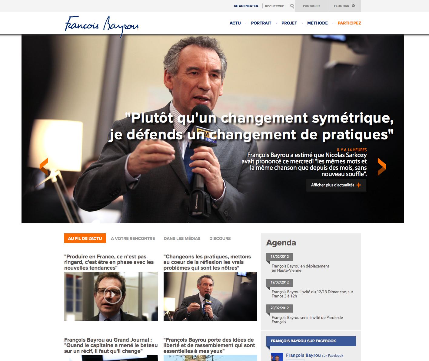 Site web du candidat François Bayrou - Modem