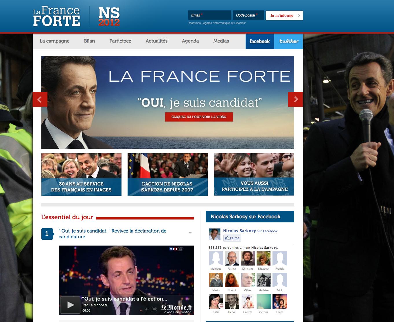 Site Web du candidat Nicolas Sarkozy - UMP