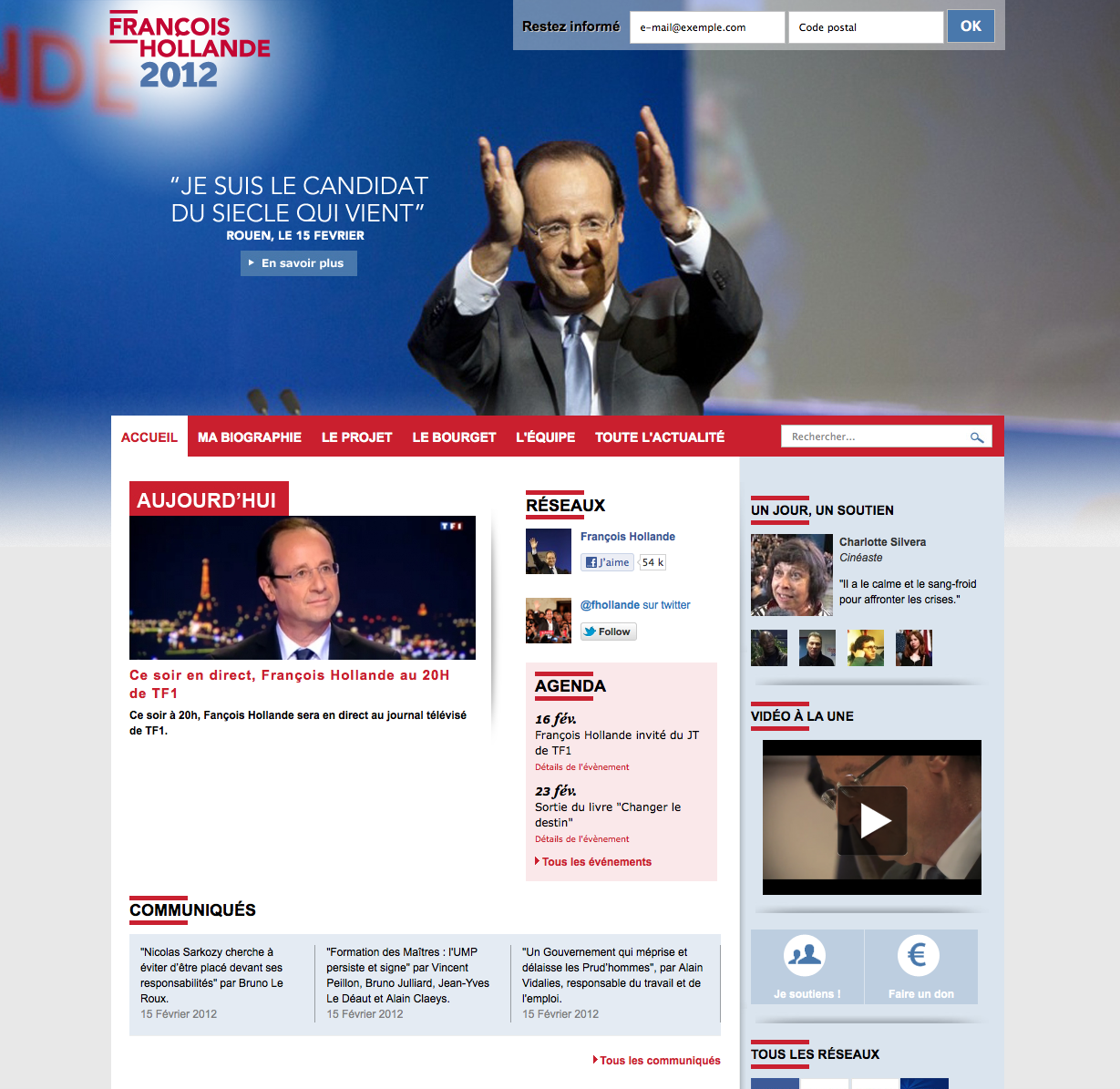 Site Web du candidat François Hollande - PS