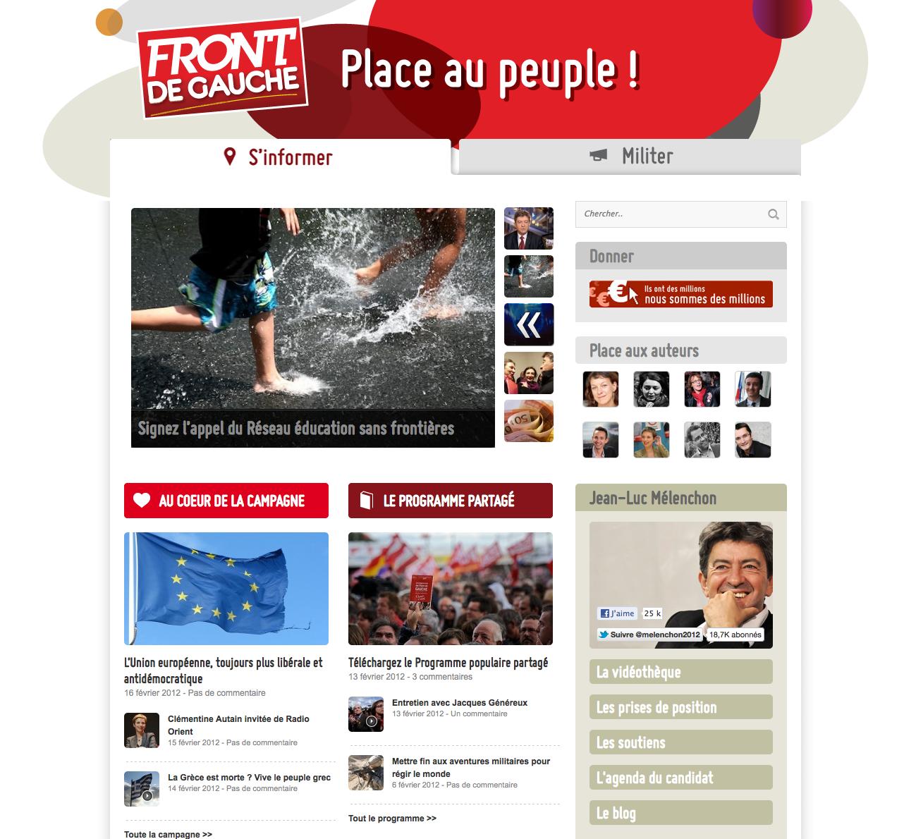 Site du candidat Jean Luc Mélanchon - Front de gauche