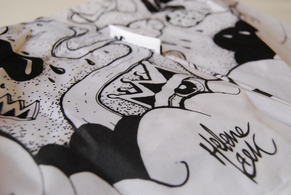 Détail de l'imprimé du parapluie - par l'artiste Helene Bek