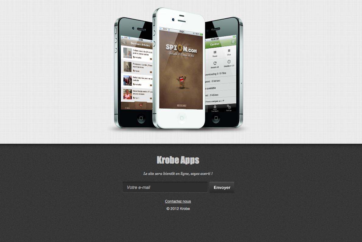 Landing page de la société Krobe