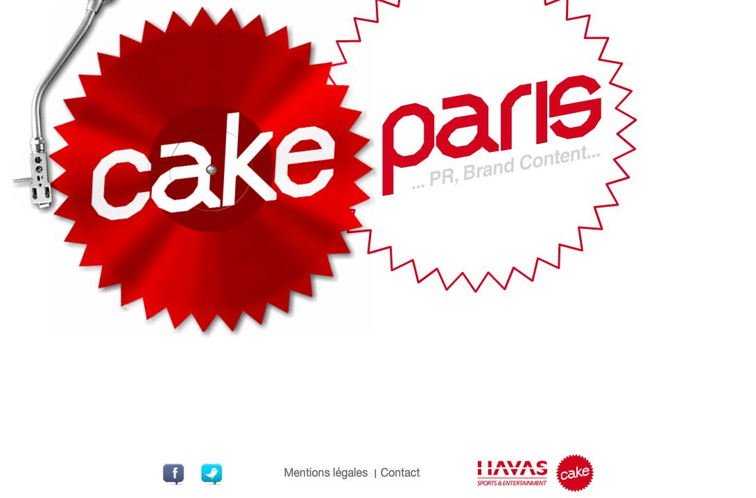 Landing page du site Cake Paris