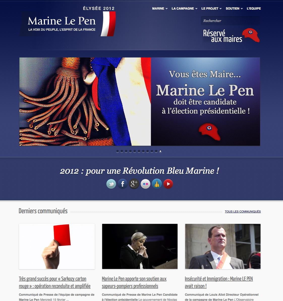 Site Web de la candidate Marine Le Pen