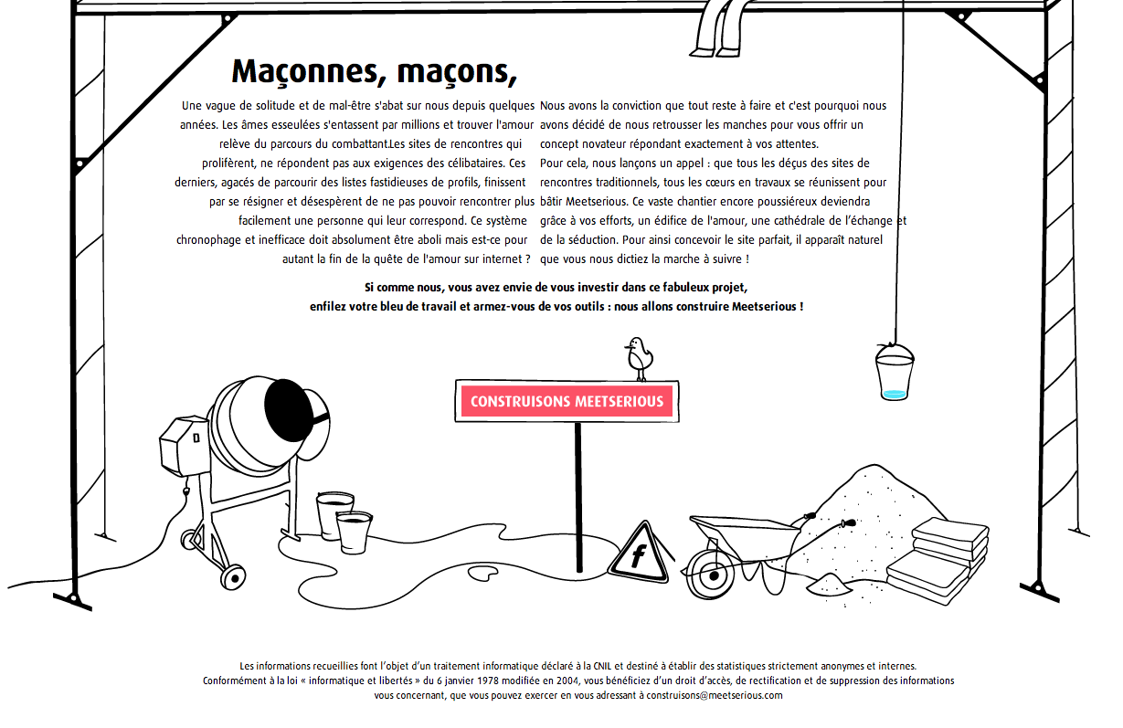 Landing page de MeetSerious, plateforme de rencontres amoureuses