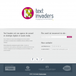 Landing page de l'agence social media Text Invaders