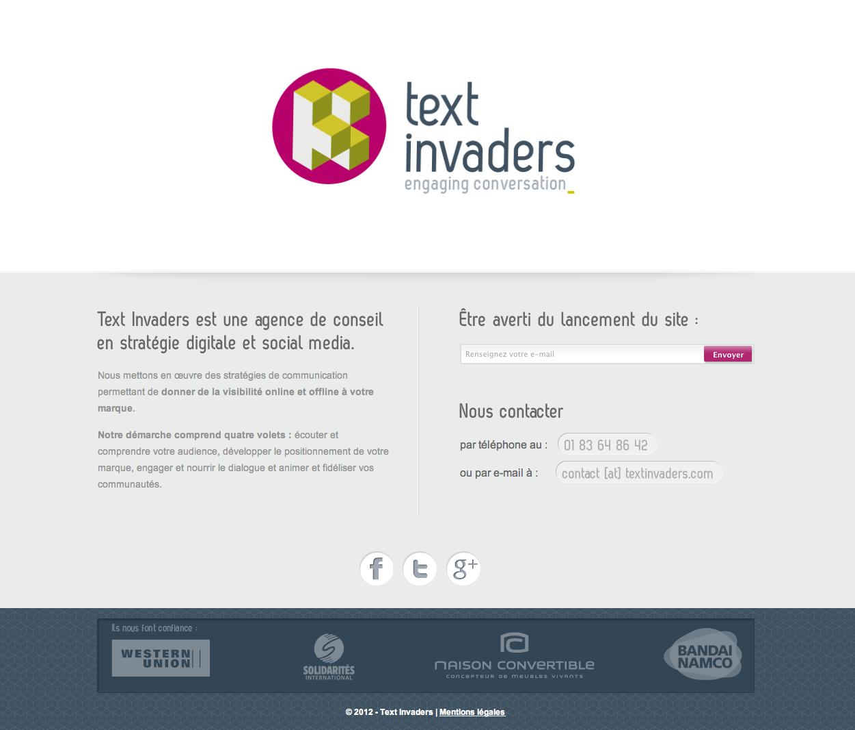 Landing page de l'agence social media Text Invaders