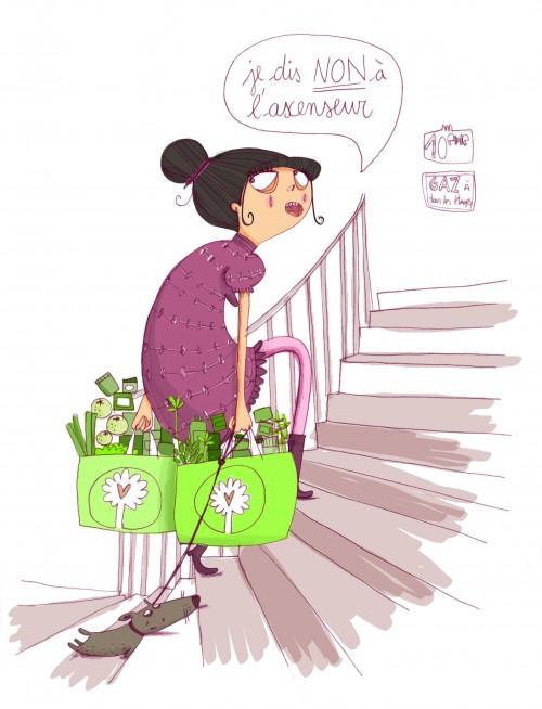 """Illustration de Christine Roussey pour l'article """"mes charges de copropriété explosent, que faire?"""" du magazine Version Femina"""