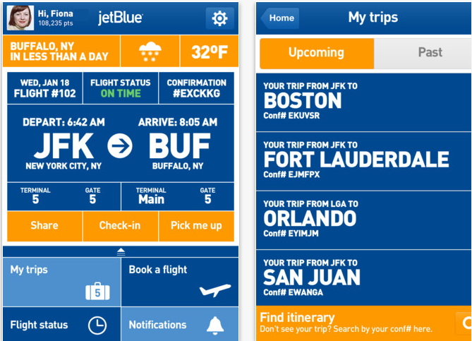 interface de l'application mobile Jetblue airways