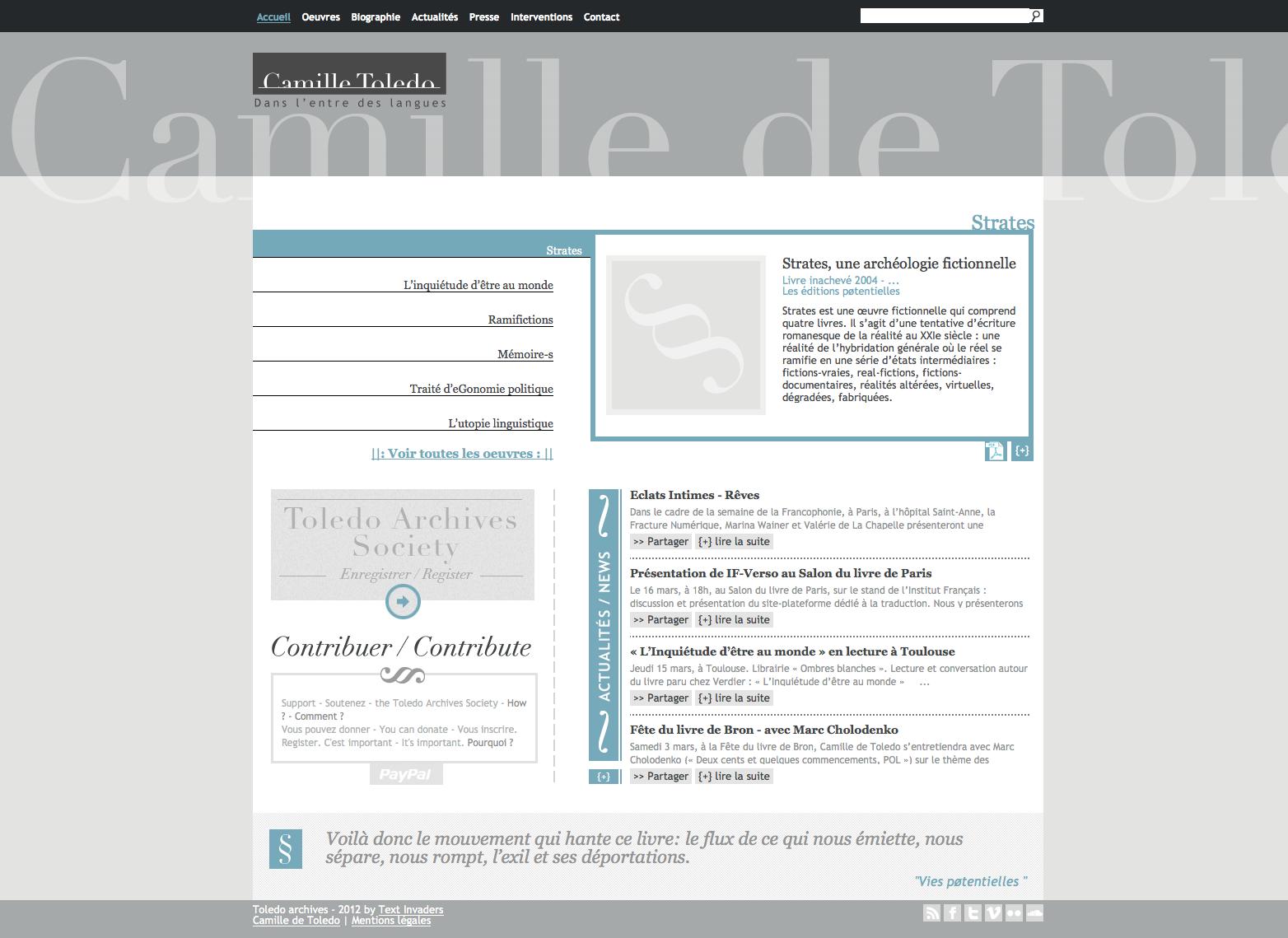 Site web de l'écrivain Camille de Toledo