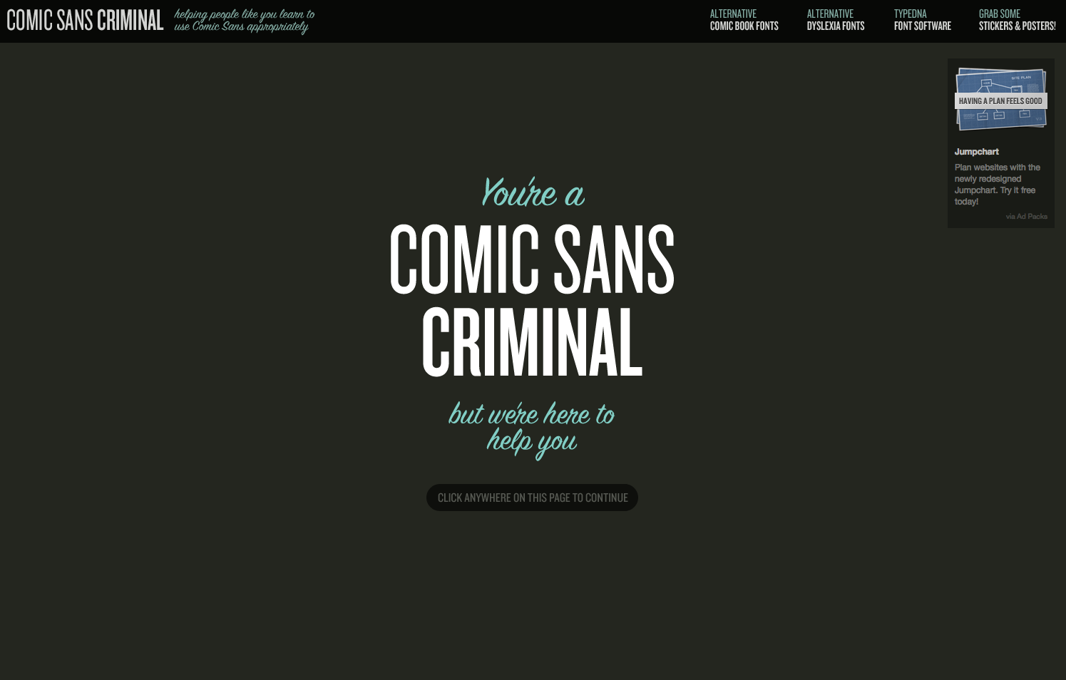 site web de l'interface &quot;Comic Sans Criminal&quot;