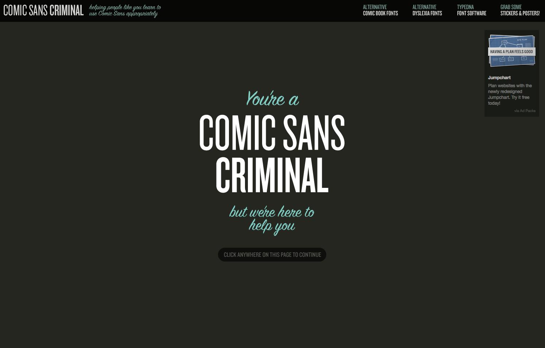 """site web de l'interface """"Comic Sans Criminal"""""""