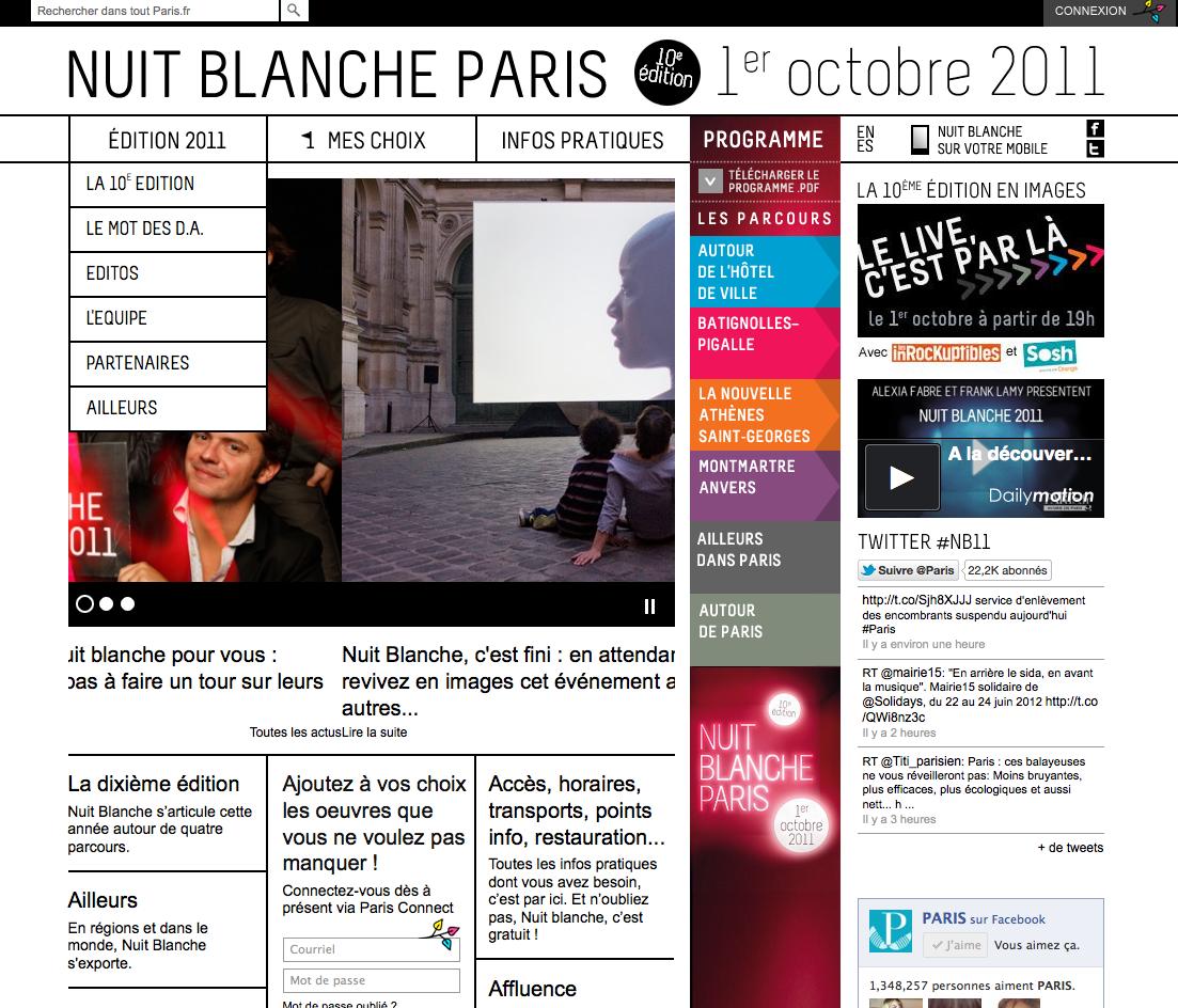 Site Nuit Blanche Paris 2011