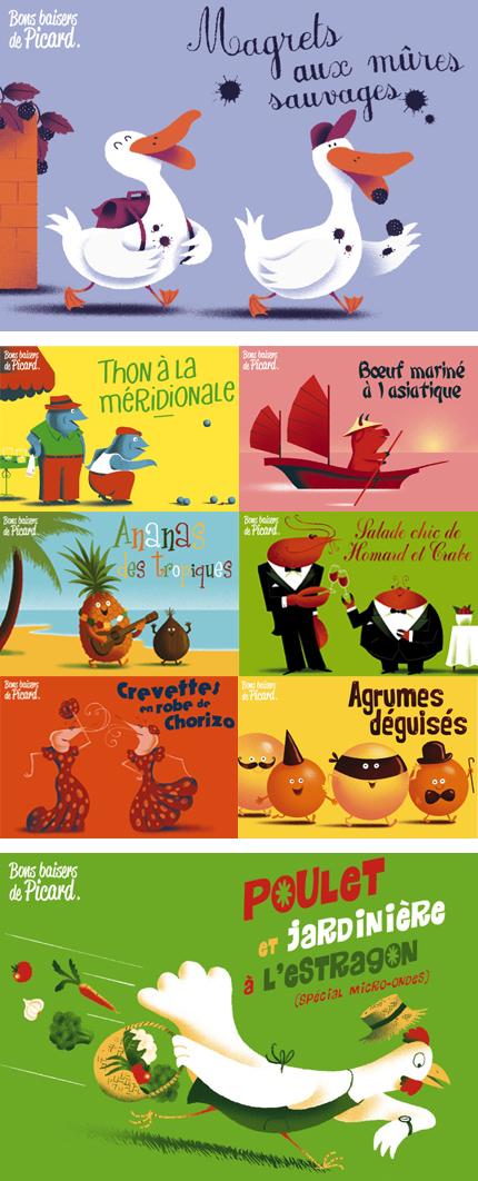 Cartes postales/recettes pour la marque de surgelés Picard