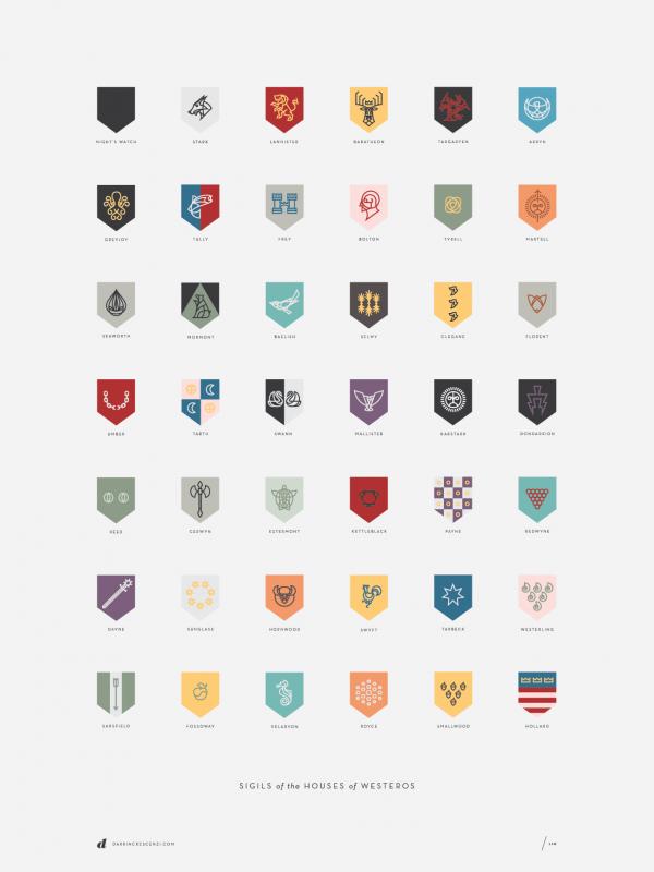 Logotypes créés à partir des écussons de la série Games of Thrones par Darrin Crescenzi