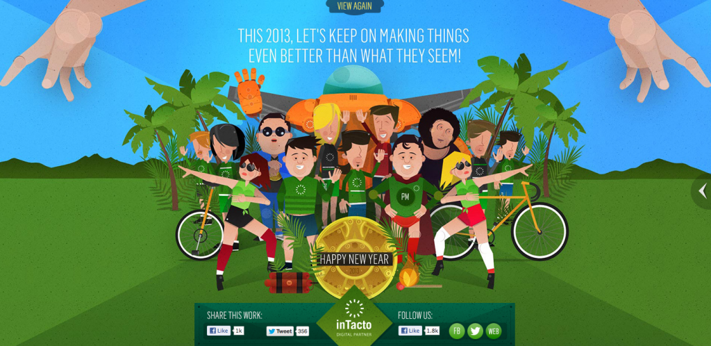 Carte de voeux interactive en responsive design de l'agence digitale Intacto