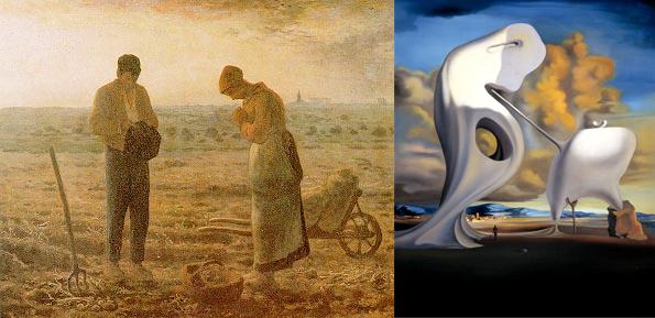 """A gauche l'original de l'Angelus de Millet, à droite, The Architectonic """"Angelus"""" of Millet peint en 1933 par Dali."""
