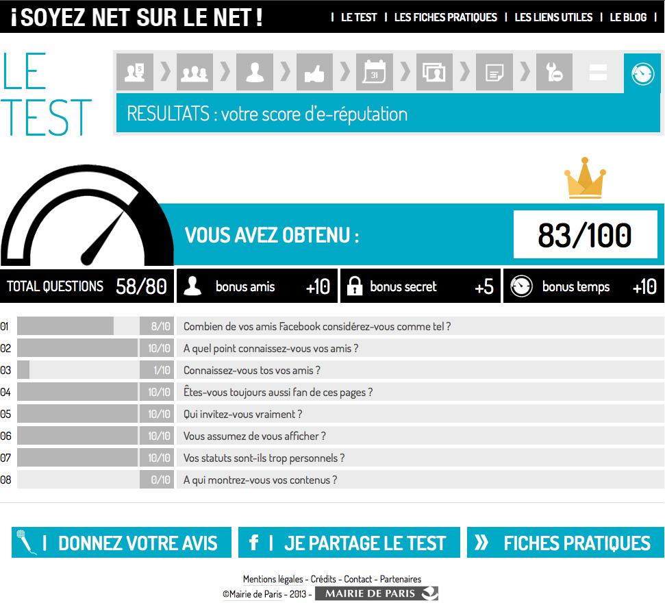 Aperçu du dashboard accessible à la fin du test - ©Mairie de Paris en collaboration avec Reputation Squad