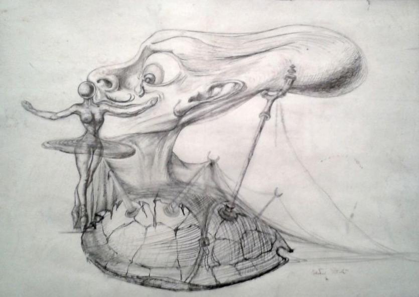 Étude pour Destino, autoportrait au crâne mou - vers 1946