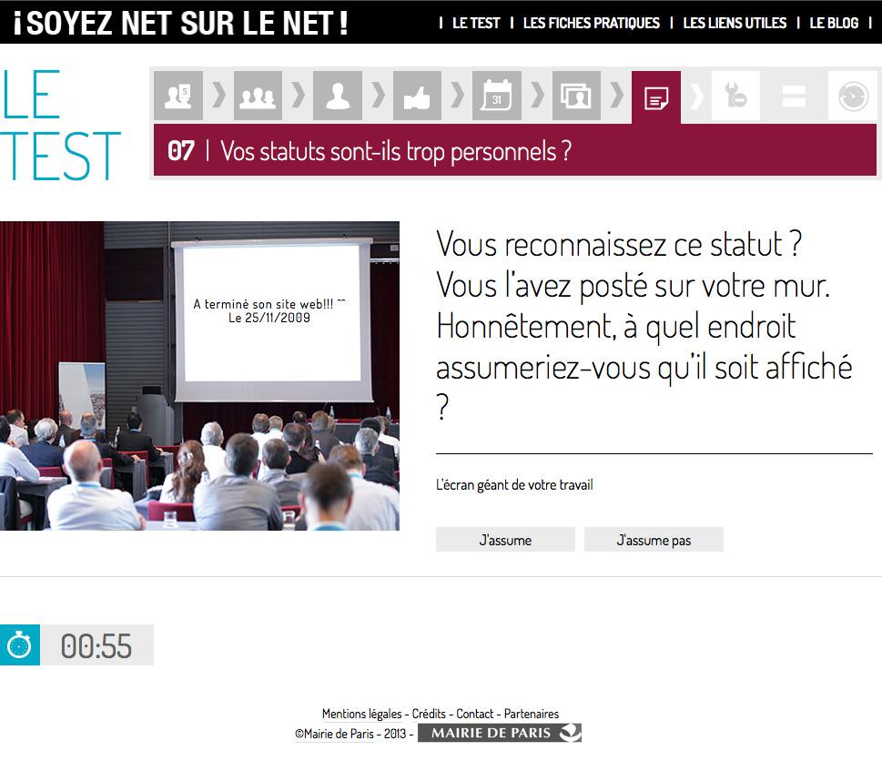 Une des questions du test - © Mairie de Paris en collaboration avec ReputationSquad