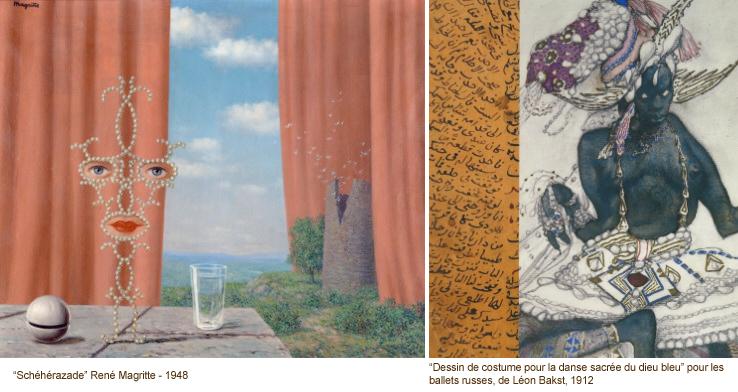 A gauche, une peinture de René Magritte, à droite, un dessin de Léon Bakst