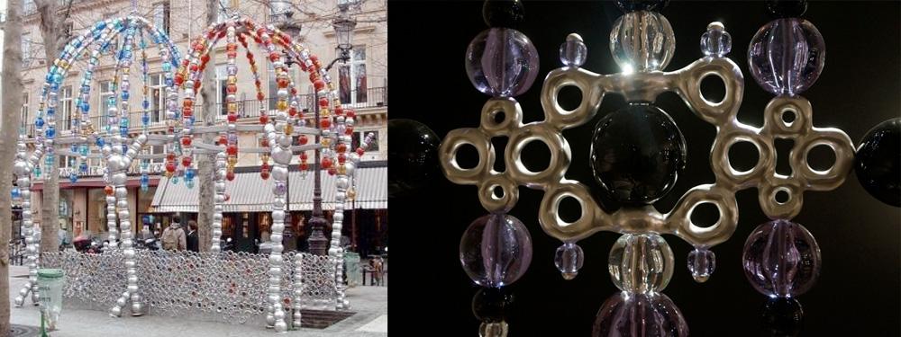 """A gauche, l'entrée de métro parisienne créé par Jean-Michel Othoniel, à droite, """"Géométrie amoureuse Alessandrita"""" par Jean-Michel Othoniel (crédits photo : La fille Futile)"""