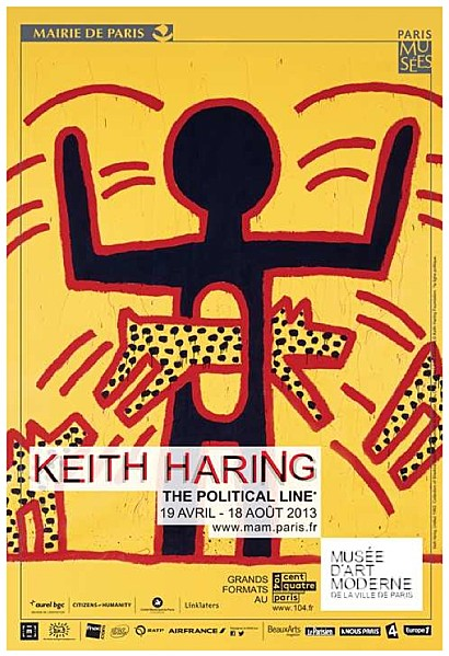 "Affiche de l'exposition Keith Haring ""The Political Line"" au Musée d'Art Moderne"