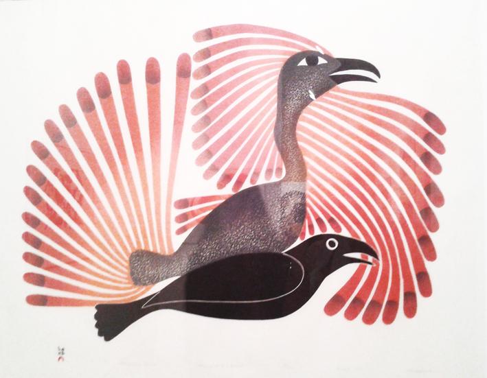 Le Corbeau s'impose - 2001 par Kenojuak Ashevak - collection Claude Baud