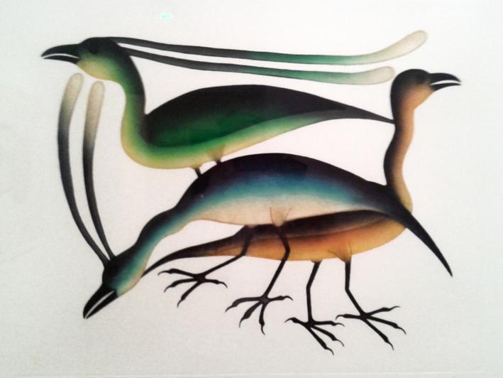 Rassemblement d'oiseaux du rivage - 2005 par Kenojuak Ashevak - collection Claude Baud