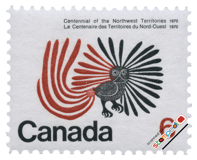 © stampedia - timbre poste canadien avec la reproduction du Hibou Enchanté de Ashevak Kenojuak