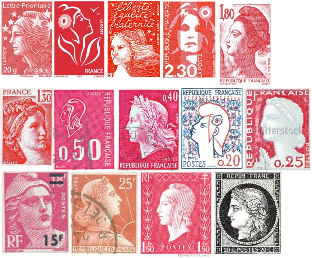 Timbres français à l'effigie de Marianne, de 2007 à 1849. En haut à gauche, celui du quiquenat de Sarkozy, puis celui commandé sous le mandat de Chirac, puis les deux publiés sous Mitterand, etc