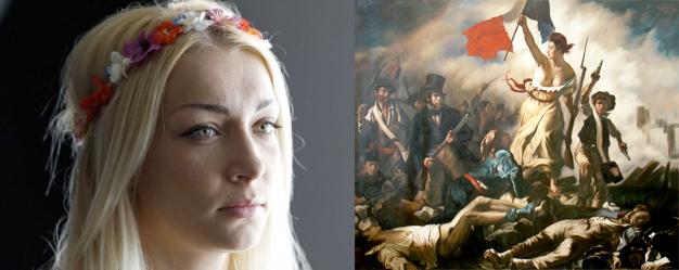 """A gauche : Inna Shevchenko (Crédit photo ©Reuters) et à droite """"La Liberté guidant le peuple"""" de Delacroix"""