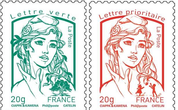 Nouvelle Marianne dessinée par David Kawena et Olivier Ciappa pour illustrer les timbres postaux français.