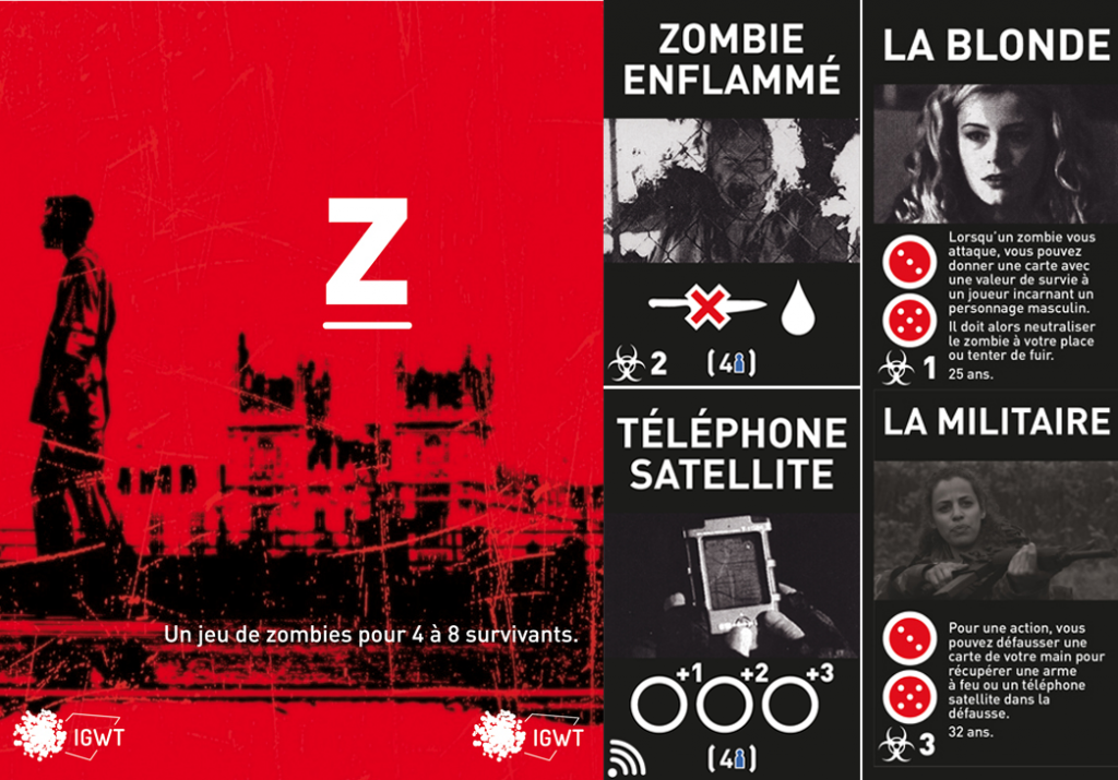Aperçu du jeu Z : couverture du jeu, échantillons de cartes et échantillons de personnages