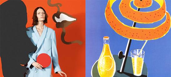Des pubs signées M/M pour la dernière collection Sonia Rykiel, hommage aux affichistes français Villemot et Savignac