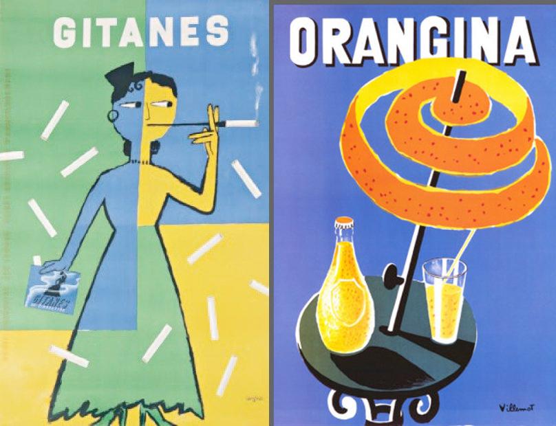 A gauche, une publicité pour les cigarettes Gitanes par Raymond Savignac, à droite, une publicité pour Orangina par Bernad Villemot