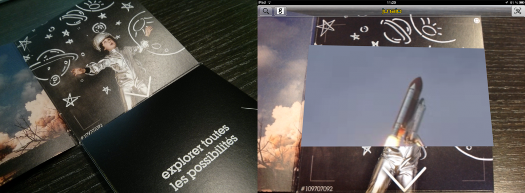Détail de la réalité augmentée obtenue sur le livret Getty Images avec l'appli Junaio