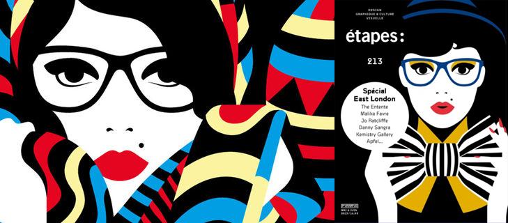 Les illustration de Malika Favre (à droite, couverture du numéro 213 d'Etapes)