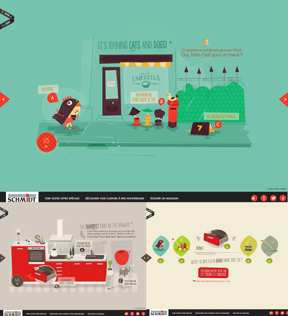 galerie de 6 interfaces web de quizz et autres tests - la