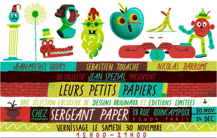 """Affiche de l'exposition """"Les petites papiers"""" à la galerie Issue - Sergent Paper"""