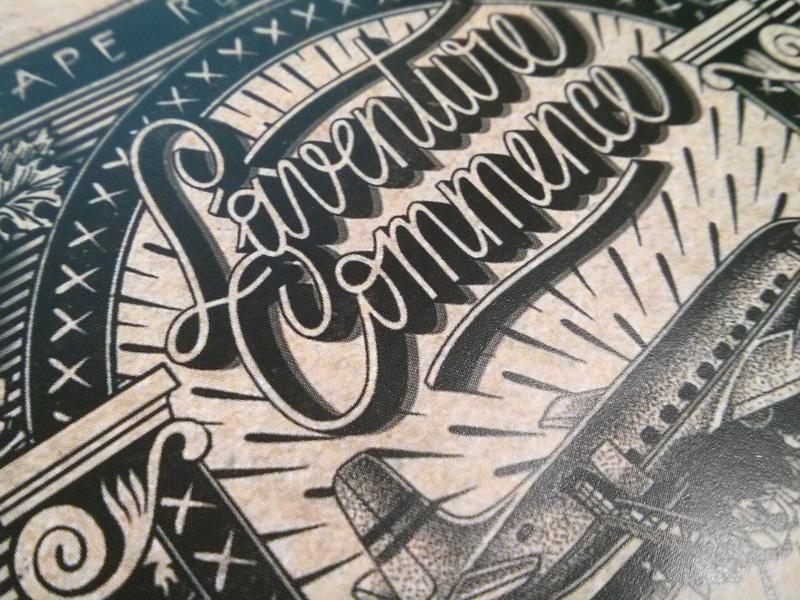 """Affiche de l'exposition """"l'aventure commece"""" à la galerie l'Attrape-rêve"""