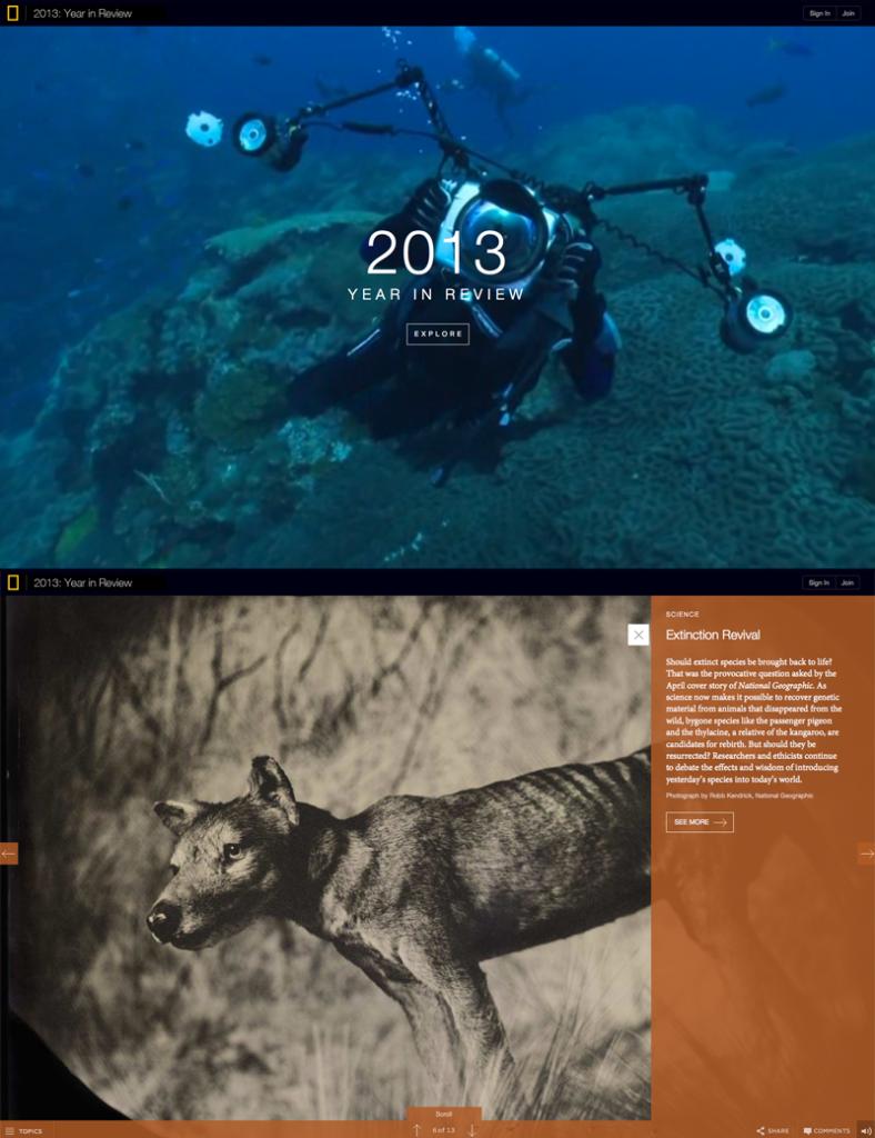 Carte de voeux/site web du National Geographic