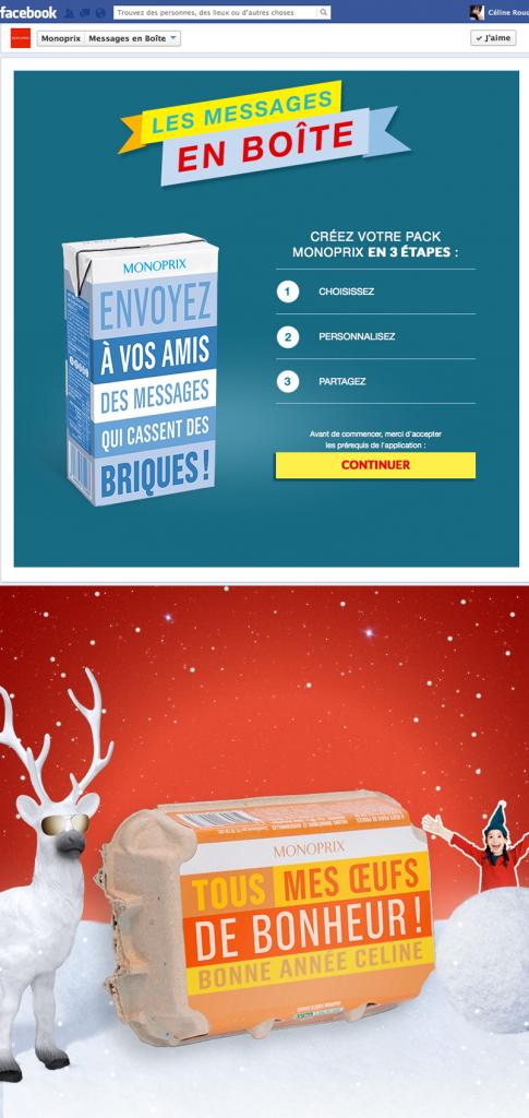 Voeux 2014 Monoprix sur facebook : les messages en boîte