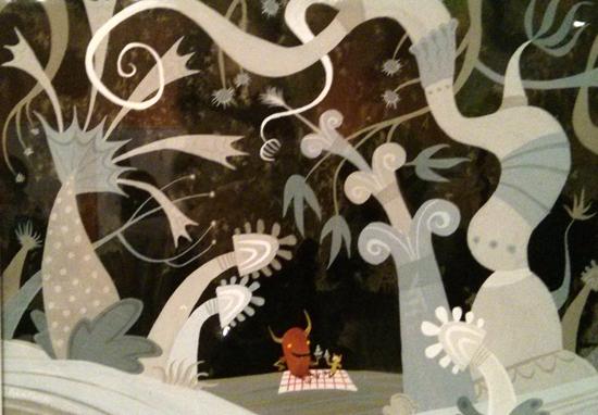Monstres et compagnie - dessin de cette scène de pique-nique par Geefwee Boedoe