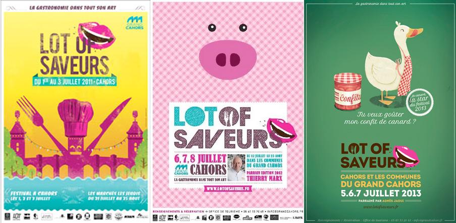 Affiches Lot of Saveurs des années 2011, 2012, 2013.