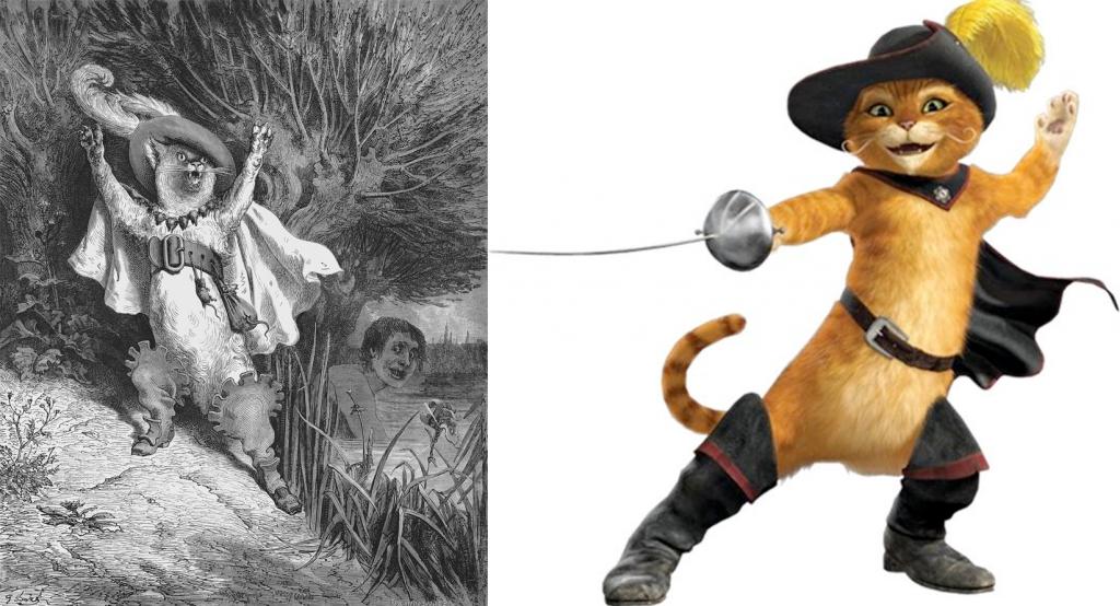 A gauche, le chat botté de Gustave Doré. A droite le Chat Potté de Shrek